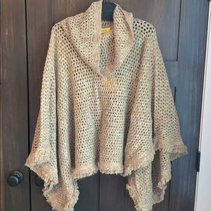 St. John beige, tan, gold and black poncho